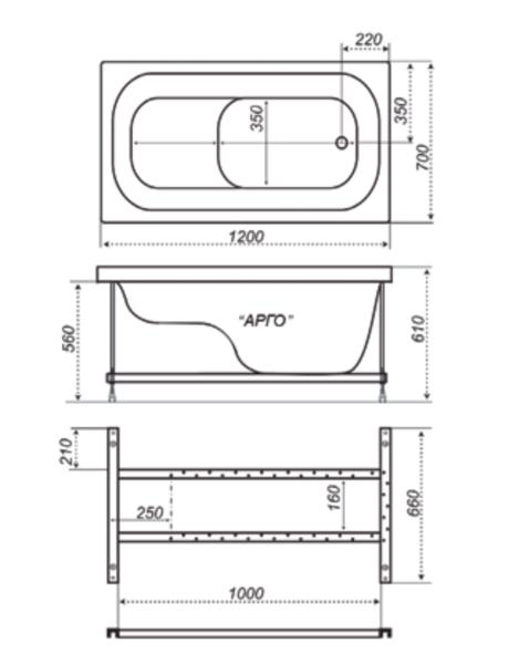Ванна акриловая 120х70см прямая с сиденьем, Арго (>70л) , толщина листа 5мм. Тритон (без каркаса) в Калининграде