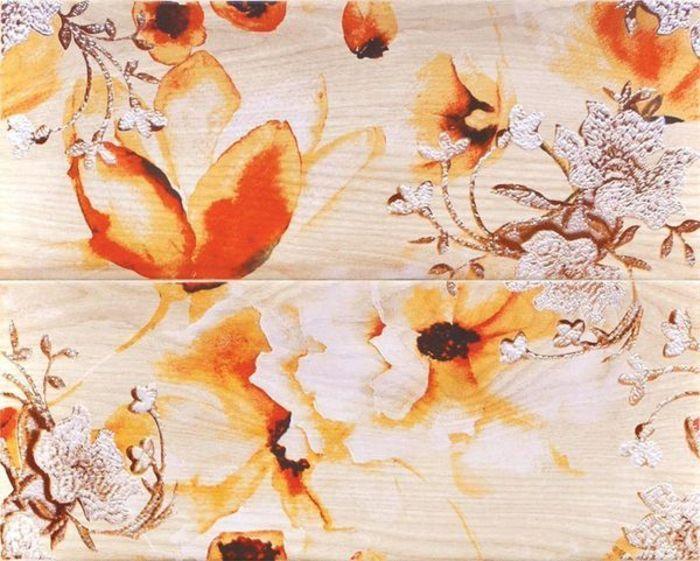 Декор-панно Голден роза 40х50см (в комплекте из 2-х плиток) в Калининграде