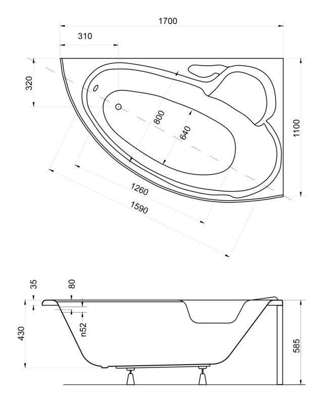 Ванна акриловая 170х110см, правая, с ножками, толщина листа 4мм (235л, глубина 43см) Finezja. Besco в Калининграде