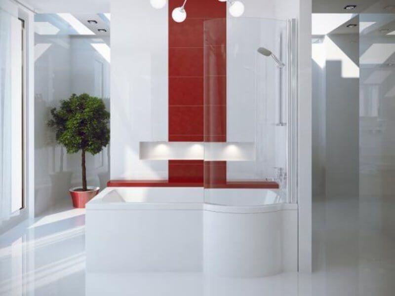 Ванна акриловая 170х70см INSPIRO правая с стекл. шторкой, с ножками (190л, глубина 40см) BESCO в Калининграде