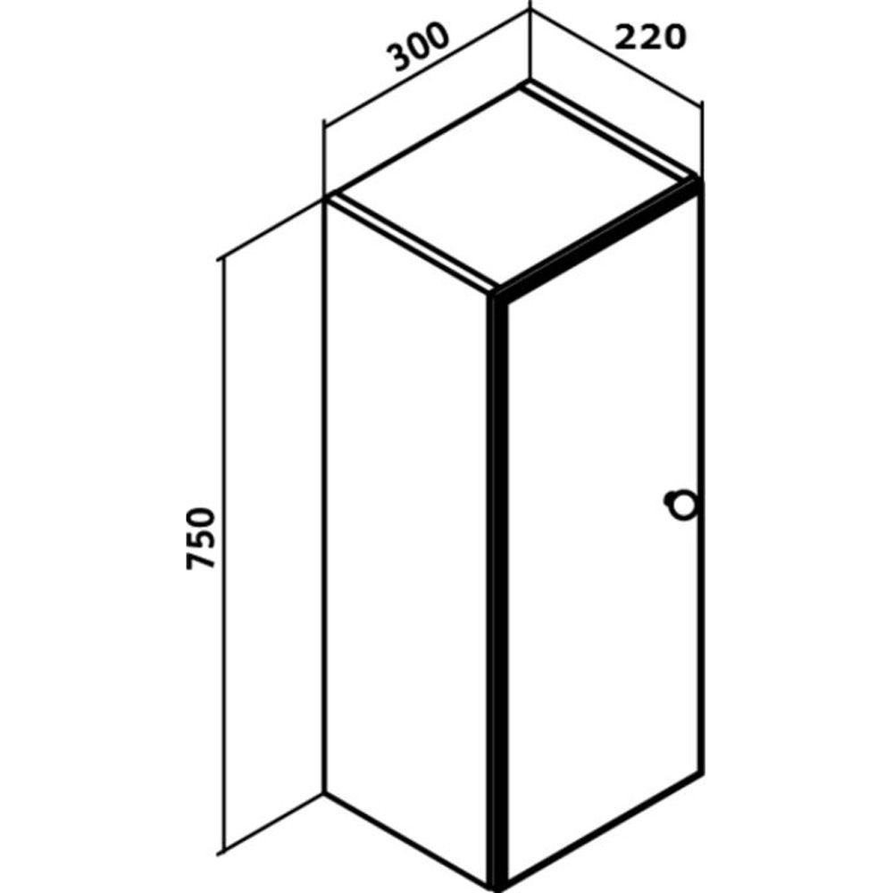 Шкаф подвесной Кредо 300х750 мм, 1 распашная дверца, универсальный, белый Runo в Калининграде