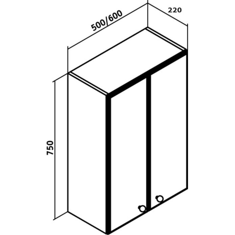 Шкаф подвесной Кредо 500х750 мм, 2 распашные дверцы, белый Кредо Runo в Калининграде