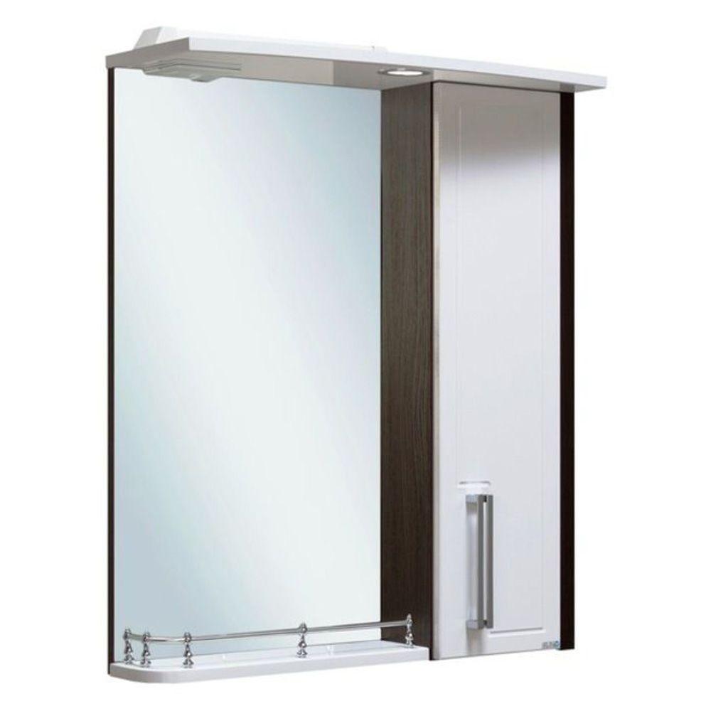 Шкаф-зеркало Гранада 600 мм, с подсветкой, правый, венге+белый Runo в Калининграде