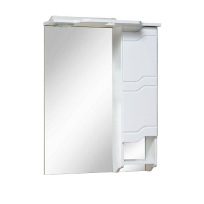 Шкаф-зеркало Стиль 750 мм, с подсветкой, белый Runo в Калининграде