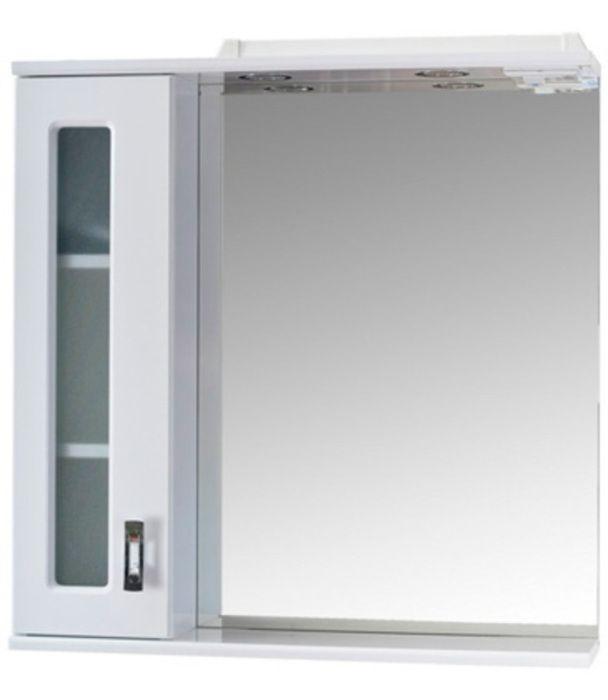 Шкаф-зеркало Кристалл 670 мм, с подсветкой, правый, белый Onika в Калининграде