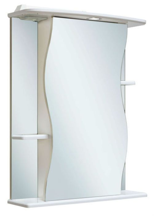 Шкаф-зеркало Лилия 550 мм, с подсветкой, правый, белый Runo в Калининграде