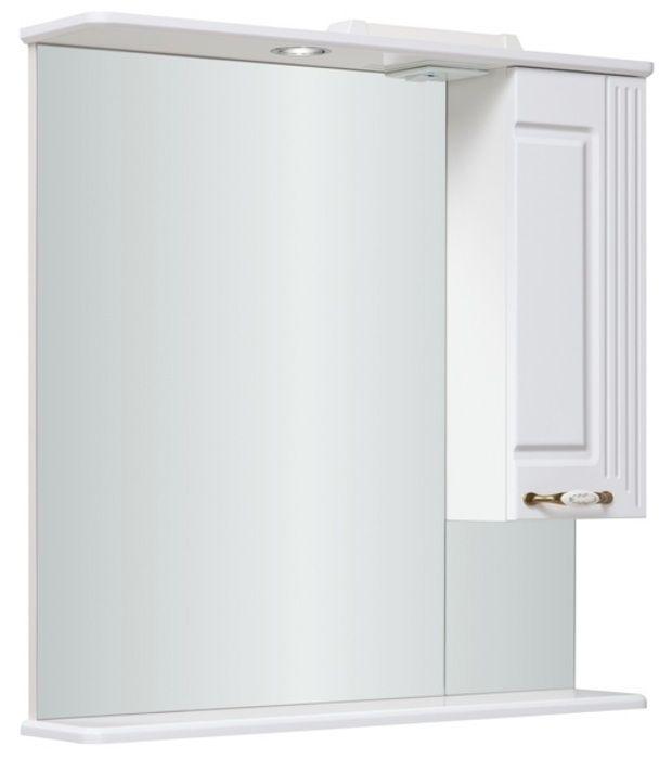 Шкаф-зеркало Леон 750 мм, с подсветкой, правый, белый Runo в Калининграде