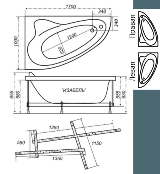 Ванна акриловая 170х100см Изабель угловая правая (270л), толщина листа 5мм. Тритон (без каркаса) в Калининграде