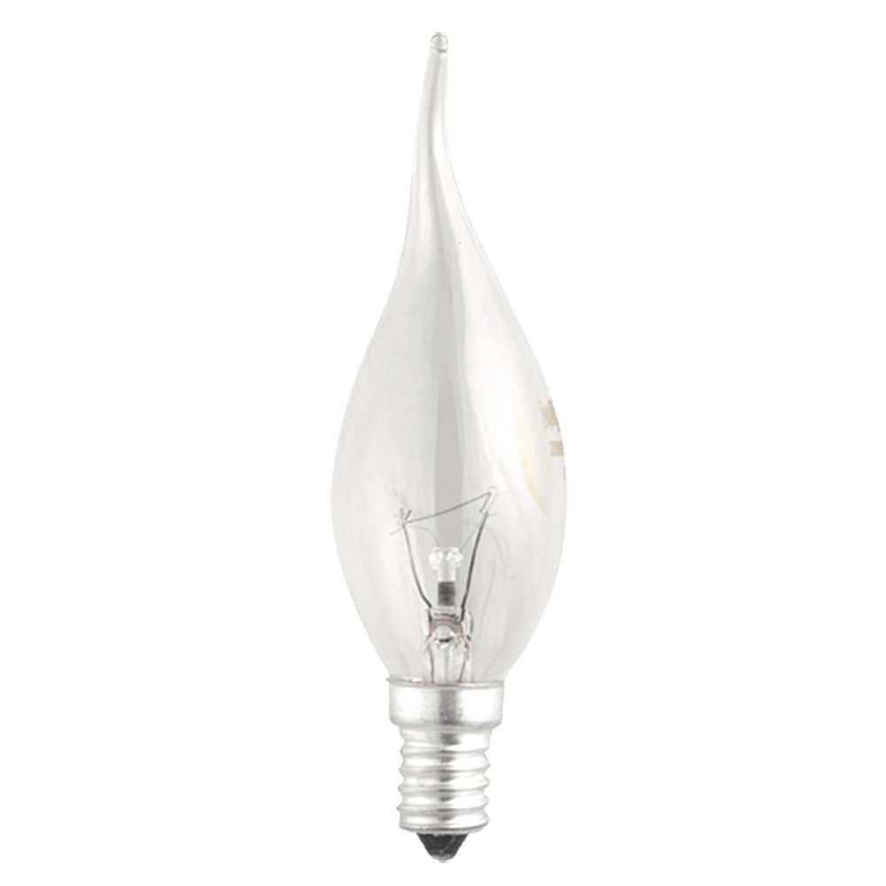 Лампа накаливания CT35 E14 40W 240V свеча на ветру прозрачная JAZZWAY в Калининграде