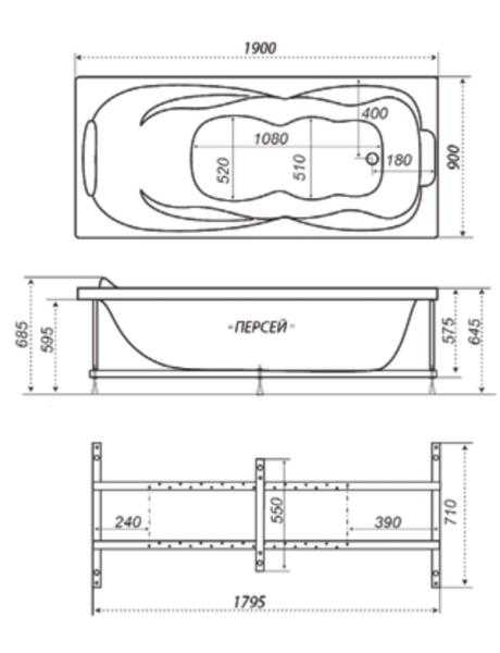 Ванна акриловая 190х90см Персей прямая (300л), толщина листа 5мм. Тритон (без каркаса) в Калининграде