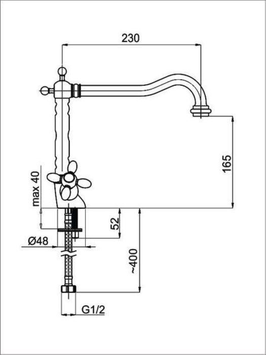 Смеситель для мойки вентельный хромированный Toscana-33 Rubineta в Калининграде