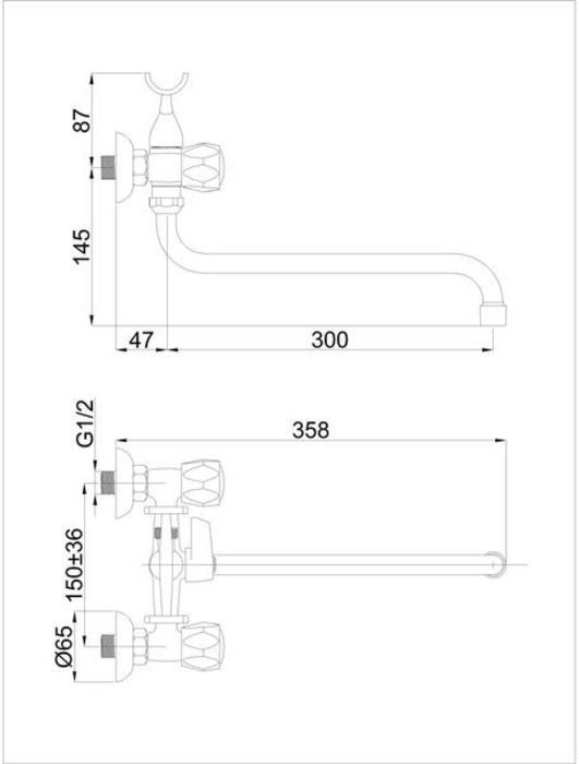 Смеситель для ванны вентильный с длинным изливом хромированный Milano-1 (K) Rubineta в Калининграде