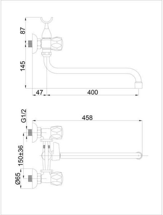 Смеситель для ванны вентильный с коротким изливом хромированный R-1 Glob Rubineta в Калининграде
