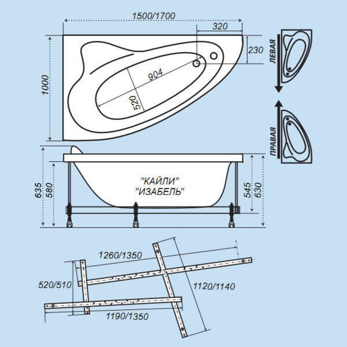 Каркас для ванны Изабель ПРАВАЯ (каркас+сборочный комплект с сифоном) Тритон в Калининграде