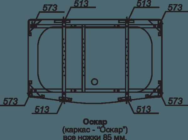 Каркас для ванны Оскар (каркас+сборочный комплект с сифоном) Тритон в Калининграде