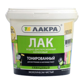 Лак на водной основе тонированный бесцветный 0,9 кг Лакра в Калининграде