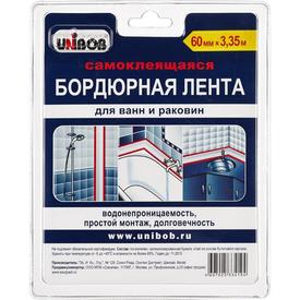 Лента клейкая бордюрная 60мм х 3,35м Белая UNIBOB в Калининграде