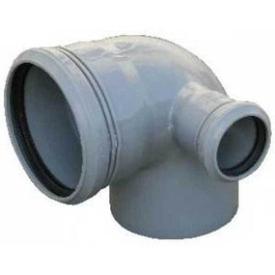 Колено канализационное ПП 110мм/90гр внутреннее с отводом 50мм правое в Калининграде