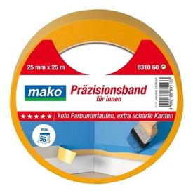 Лента малярная для внутренних работ супертонкая 25ммх25м желтая для гладких оснований MAKO (10) в Калининграде