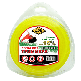 """Леска триммерная 2,0 мм х 15 м  круг в блистере DDE """"Classic line""""  желтая DDE в Калининграде"""