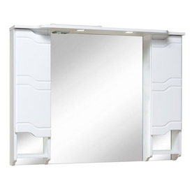 Шкаф-зеркало Стиль 1050 мм, с подсветкой, белый Runo в Калининграде