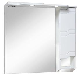 Шкаф-зеркало Стиль 850 мм, с подсветкой, белый Runo в Калининграде