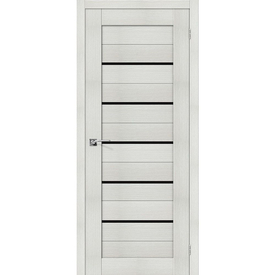 Полотно дверное остекленное Порта-22 70х200 см, эко шпон, Bianco/Black Star в Калининграде