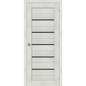 Полотно дверное остекленное Порта-22 60х200 см, эко шпон, Bianco/Black Star в Калининграде