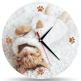 Часы Котик в белом 30*30см в Калининграде