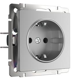 Механизм розетка 1-я с/з 16A серебро рифленый WERKEL WL09-SKG-01-IP20 в Калининграде
