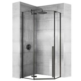 Душевой уголок 100х100x195см, стекло 6мм, прозрачное, черный профиль. Diamond, Rea в Калининграде