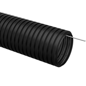 Труба гофрированная ПНД D 25 мм с зондом черный (50м) ИЭК в Калининграде
