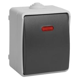 Выключатель нар. 1-кл подсв. 10А ФОРС IP54 серый/черный (10шт/уп) ИЭК в Калининграде